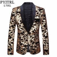 PYJTRL Men Shawl Lapel Blazer Designs Plus Size 5XL Black Velvet Gold Flowers Sequins Suit Jacket DJ Club Stage Singer Clothes 201105