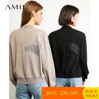 AMII Минимализм осень старинные вышивки женщины короткая куртка мода полного рукава свободная молния женское пальто 12030358 201126
