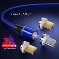 الكابل المغناطيسي مايكرو USB نوع C كابلات الهاتف 3A كابلات شحن سريع لسامسونج S10 / S9 هواوي الروبوت الهواتف الذكية