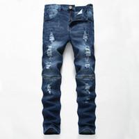 Мужские разорванные джинсы с молнией Джинсовые штаны Slim Fit Hip Hop Moto Biker Jeans Мужской повседневная стрейч большие отверстия тощие брюки