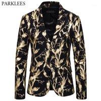 Erkek Takım Elbise Blazers Altın Bronzlaştırma Baskı Erkek Blazer Ceketler Sıçramasına Mürekkep Erkekler Suit Ceket Gece Kulübü Dans Parti Coat Sahne Kostüm Hombre1