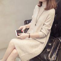 Ioqrcjv Turtleneck свитер платье женщины мода осень зима вязаные пуловеры свитера с длинным рукавом джемпер вытащить FEMME S184 200922