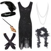 Abiti casual Plus Size 4xL Great Gatsby Blapper da donna Blapper 1920S Sequin Beaded Dress Breging w / Accessori Set XS-XXXXL1
