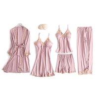 FOPLY 5 штук набор сексуальные кружевные атласные искусственные шелковые пижамы лето весна моды пижамы для женщин халат салон сна