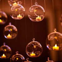 Vendita calda 60mm Hanging Tealight Holder Globes Globes Terrarium Wedding Holder Portacandele Candelabro Vaso Home Hotel Bar Decorazione