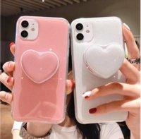 EKONEDA bonito coração porta-telefone iPhone para o caso do 11 Pro XS Max X XR SE 2020 6 6S 7 8 Plus Luxo Glitter Stand Case Capa