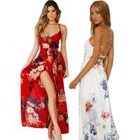 Backless Floral Maxi Kleid 2021 Sommer Frauen Sexy Party Spaghetti Strap Sommergut Boho Strand High Wiist Chiffon Kleid Vestidos