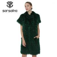 Sarmallya Kış Kadınlar Gerçek Kürk Yelek Ceket Gerçek Gümüş Kürk Yelek Moda Ceket Kadın Giyim Giysileri Vizon Coat1