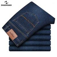 Business da uomo Shanbao Casual Slim Dritto di alta qualità Cotton Elastic Denim Jeans 2020 Autunno New Brand Abbigliamento Jeans 56021