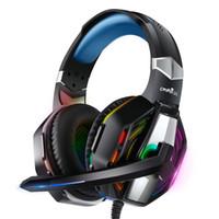 Jogo de PC Fones de ouvido Redução de ruído Microfone Microfone Lâmpada RGB Compatível com Notebook Mac PS4 Xbox One