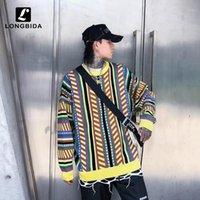 2019 Nuevos Hombres Retro Striped Suéteres Suéteres Vintage Casual Punto de punto Jersey Suéteres Hip Hop Hombres / Mujeres Punto de punto Suéter Tops1