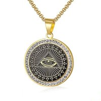 Hängsmycke Halsband Man Zirkon Hip Hop Rostfritt stål Masonic Symbol Pendants För Kvinnor / Män Guldfärg Free-Mason Fashion Smycken