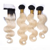 Rubio peruano Ombre Human Hair Weaves con cierre de encaje Body Wave 2Tone 1b 613 Ombre 4x4 Lace Top Closure con 3bundles 4pcs Lot