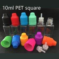 10 ml Pet Boş Plastik İğne Şişesi Kare Yağ Ejuice Eliquid Ecig Damlalık Şişeleri Kavanoz Konteyner Çocuk Geçirmez Kapaklı