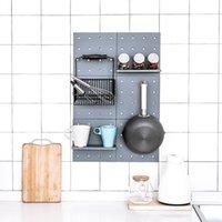 الحمام جدار الجرف دش الركن الجرف المطبخ تخزين حامل الرف المطبخ جدار شنقا البلاستيك ثقب مجلس الحمام المنظم 200 N2