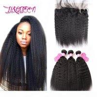 Malaisienne Vierge cheveux crépus droite cheveux humains Weave avec fermeture Frontal Double Trame Malaisie Yaki cheveux 4 pièces Lot Weave pas cher