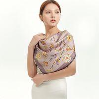 """الأزهار 100٪ الحرير وشاح شال النساء أزياء رئيس الأوشحة كبيرة الحجم حجم 35 """""""