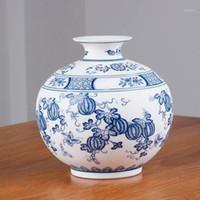 Chinesischer Stil Jingdezhen klassische blaue und weiße Porzellan-Kaolin-Blumenvase-Home-Dekor handgemachte Vasen1