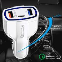 شاحن سيارة USB ج شاحن سريع نوع C QC 3.0 Fast PD USBC شاحن لمحول شحن هاتف السيارة لفون Samsung