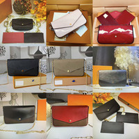 Luxurys 디자이너 가방 지갑 체인 스트랩 어깨 가방 다중 3 조각 세트 여성 크로스 바디 카드 비트 홀더 지갑
