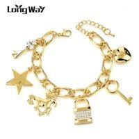 Langway Gold Farbe Ethnische Liebe SATR Lock Key Charme Armband Armreif Kristall Armbänder Für Frauen Schmuck Pulseira SBR1603391