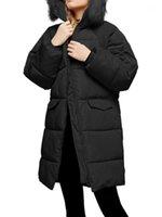 Women's Down Parkas Wipalo 2021 Hiver Arrivée Veste Femmes manteau à capuche à capuche Collier long coton rembourré Vêtements de vêtement en vrac
