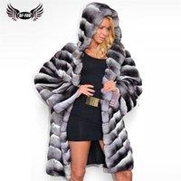 BFFUR Gerçek Chinchilla Renk Rex Tavşan Kürk Ceket Hood Ile Kış Kadın Paltolar Sıcak Tüm Cilt Tavşan Kürk Palto Orijinal 201212