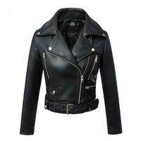 MANLEY ARTY Femmes Automne Hiver Black Faux Cuir Vestes Zipe à glissière Basique Basic Collier Moteur Veste motard avec ceinture 201028