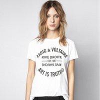 고품질! 새로운 프랑스어 클래식 레터링 인쇄 코튼 포크 이른 봄 여성용 코튼 티셔츠 짧은 소매