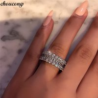 VECALON Eternity Promise Ring 925 Ayar Gümüş Tam Elmaslar CZ Nişan Düğün Band Yüzük Kadınlar Için Parti Takı