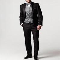2020 New Arrival terno Black Groom men Suit for wedding Jacket+Pants+Tie+Vest slim fit mens Tuxedos for men groomsmen suits