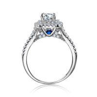 Wedding Ring NewsHe 2 Pz solido argento 925 femminile Imposta Victorian dei monili di stile blu pietre laterali Classic per le donne 201118