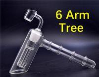 1pcs Glass Hammer 6 Bongs Bras perc percolateur Pipes barboteur verre d'eau bangs avec 4 mm Seaux Quartz Banger ongles