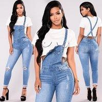 2021 feminino popular lavado fashion jeans macacões casuais rasgados denim calças mulheres fitness alta cintura jumpsuits moda macacão # 3