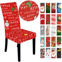 Christmas Stretch Chair Cover Merry Xmas Spandex New Year El...