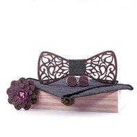 Corbatas del cuello Sitonjwly Pajarita de madera para hombres Handkerchief Wood Bowtie Gemelos Broche Business Hombre Accesorios para hombres1