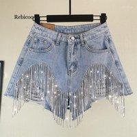 Rebicoo Verão Estilo Europeu de Alta Qualidade Diamante Borlas Denim Shorts Mulheres Moda Cintura Alta Calças de Jeans Shorts1