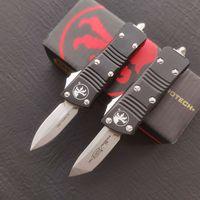 Micro Cuchillo Mini Combat Troo-Don Double Action Auto Cuchillo Cuchillos Tacticales D2 Blade 6061-T6 Mango de aluminio Cuchillos de bolsillo