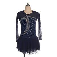 Ropa de escenario personalizable mangas largas vestido de patinaje mujeres niñas brillante tul gimnasia leotardo salón de baile danza de baile vestidos BL40141