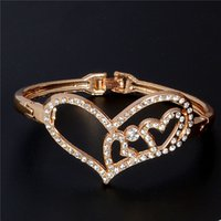 bangle bracelet Crystal Heart shaped Bracelets bangle indian...