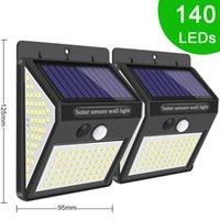 3MODE 140 LED Al aire libre Luz solar Light Movimiento Sensor inalámbrico Luz de seguridad solar para la decoración de la valla de pared PIR Lámpara de energía impermeable