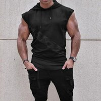 Men Trainning Exercise t-shirts 2020 New Male Fashion Casual t-shirts With Hats Male Sleeveless Breathable Comfortable Tops