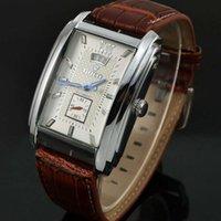 벨트 GOER 부티크 가죽 남성 캘린더 비즈니스 사각형 레저 남자 자동 기계식 시계 와인 버킷 시계