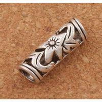 Hollow Lily Flower Tube Spacer Big Hole Beads 120 PCS / Lot Tibetan Silver Fit Bracelete Europeu 22x7mm L1407 B7PAS
