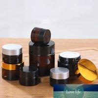 20pcs 5g / 10g / 20g / 30g / 50g do âmbar de Brown vidro Cosmetic Jar Vial creme facial Garrafas Lip Balm Amostra Pot Skin Care recipientes de armazenamento
