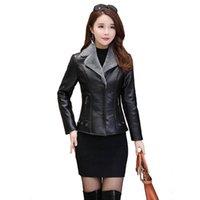 Женская траншеи Зимние 2021 Короткие Кожаные Утолщенные Шерсть Теплый Мех Корейский Мода Женщины Пальто PU Пальто Топ Наряд