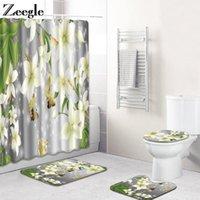 Floral Impresso Cortina de Chuveiro para Banheiro Banheiro Set Modern Bathroom Carpet Polyester Curtain Acessórios para WC1