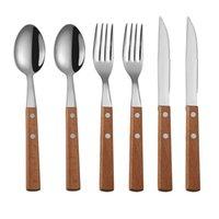 6шт / комплект Tablewellware Silverware ПОСУДА вилка ложка нож набор 6шт Cutlery Set Kitchen Посуда Набор из нержавеющей стали с держателем древесины