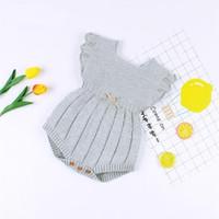 Gestrickte Kleidung Winter Sommer Ruffle Sleeve Baumwolle Neugeborene Strampler Infant Baby Jungen Mädchen Strampler Overall Y200320