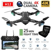 Drones H12 Profissional RC DRONE WIFI FPV Quadcopter 4K con cámara HD DUAL HD Tiempo de vuelo Largo Atención de altitud plegable